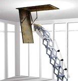 Zoldertrap Roto Junior Aluminium schaartrapmet veersysteem op montagebord, vervang uw oude trap met behoud van uw huidig luik.